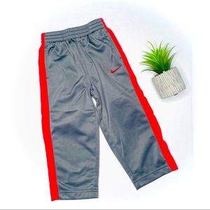 Nike Boys Grey & Red Sweatpants